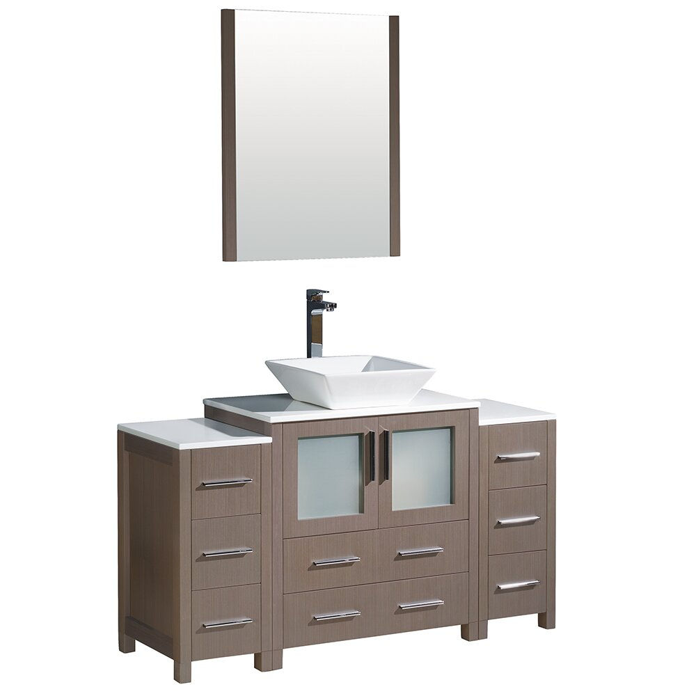 Fresca torino 54 single modern bathroom vanity set with for Modern contemporary bathroom vanities