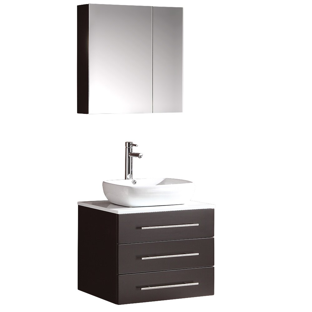 Fresca stella 24 single modella modern bathroom vanity set with mirror reviews wayfair - Kona modern bathroom vanity set ...