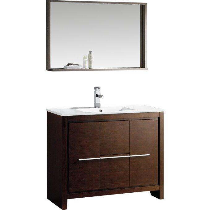 Fresca allier 40 single modern bathroom vanity set with mirror reviews wayfair - Linden modern bathroom vanity set ...
