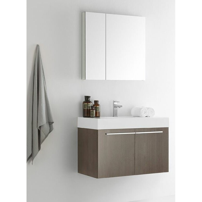 single wall mounted modern bathroom vanity set with medicine cabinet