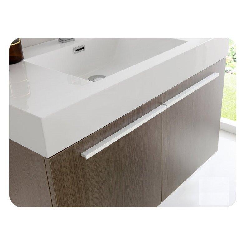 Fresca senza 36 vista single wall mounted modern bathroom for Wall mounted bathroom vanity cabinet only