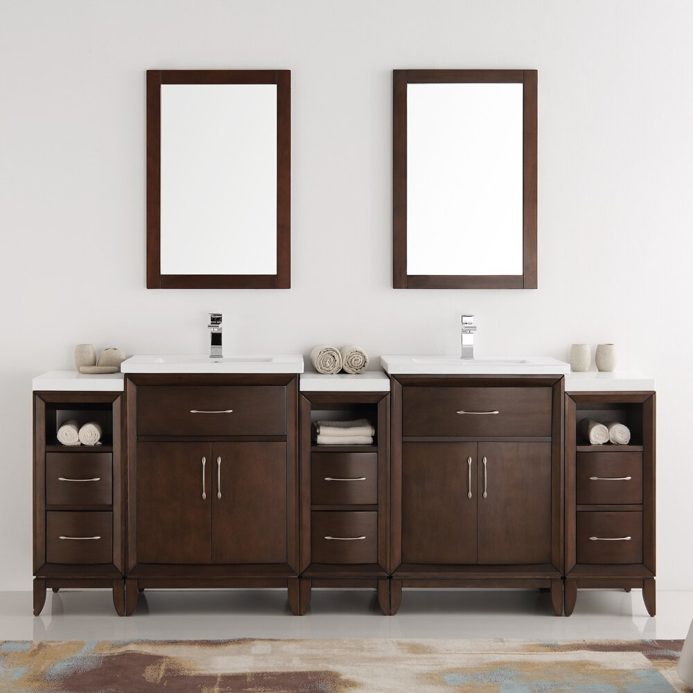 Fresca Cambridge 84 Double Traditional Bathroom Vanity Set With Mirror Wayfair