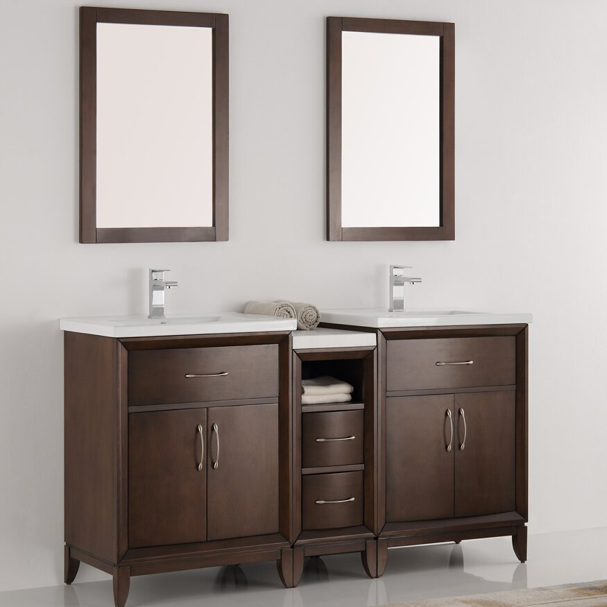 fresca cambridge 58 double bathroom vanity set with mirror wayfair