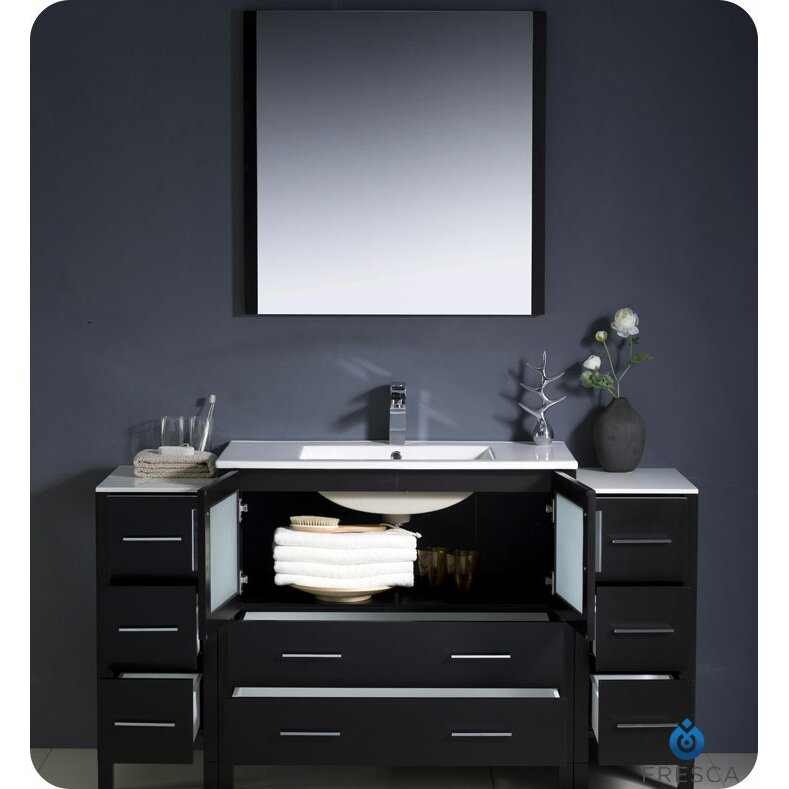 Fresca torino 60 single modern bathroom vanity set with mirror reviews wayfair - Kona modern bathroom vanity set ...