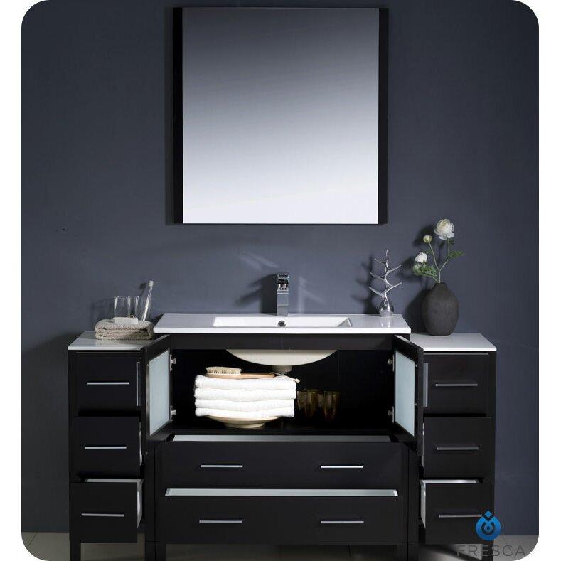 Fresca torino 60 single modern bathroom vanity set with mirror reviews wayfair - Linden modern bathroom vanity set ...
