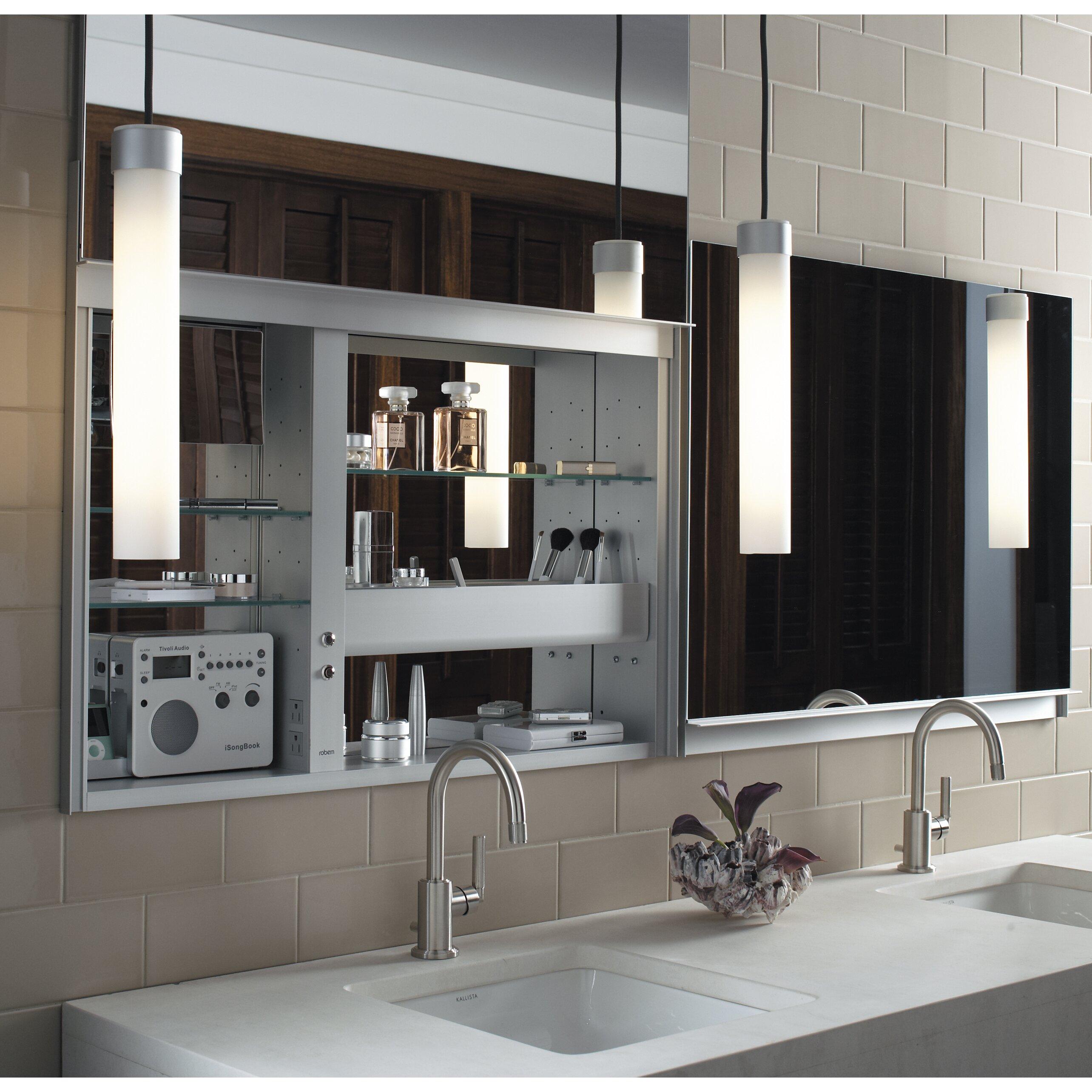 robern uplift series 27 x 48 mirrored wall mounted medicine cabinet wayfair. Black Bedroom Furniture Sets. Home Design Ideas