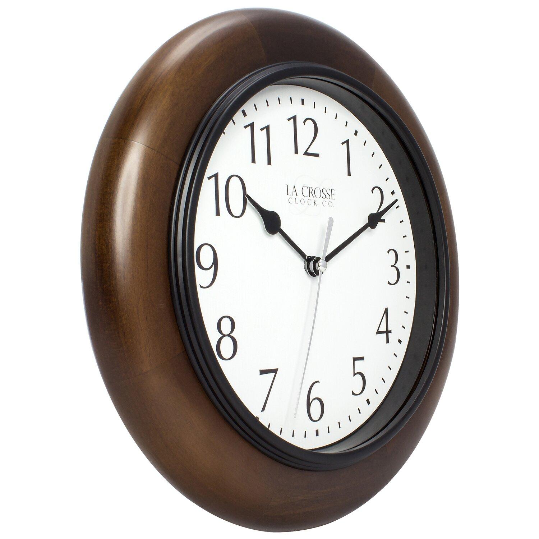 la crosse technology 10 quot solid wood analog wall clock wayfair