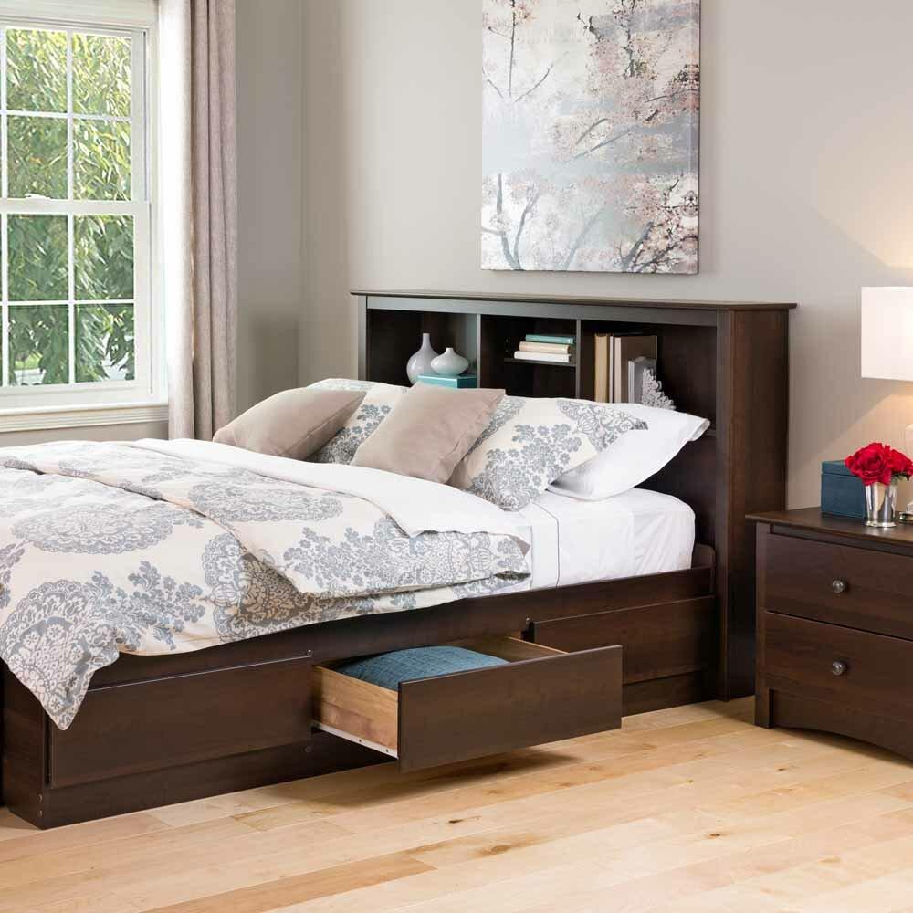 Prepac manhattan wood headboard reviews wayfair for Bed frame with shelves