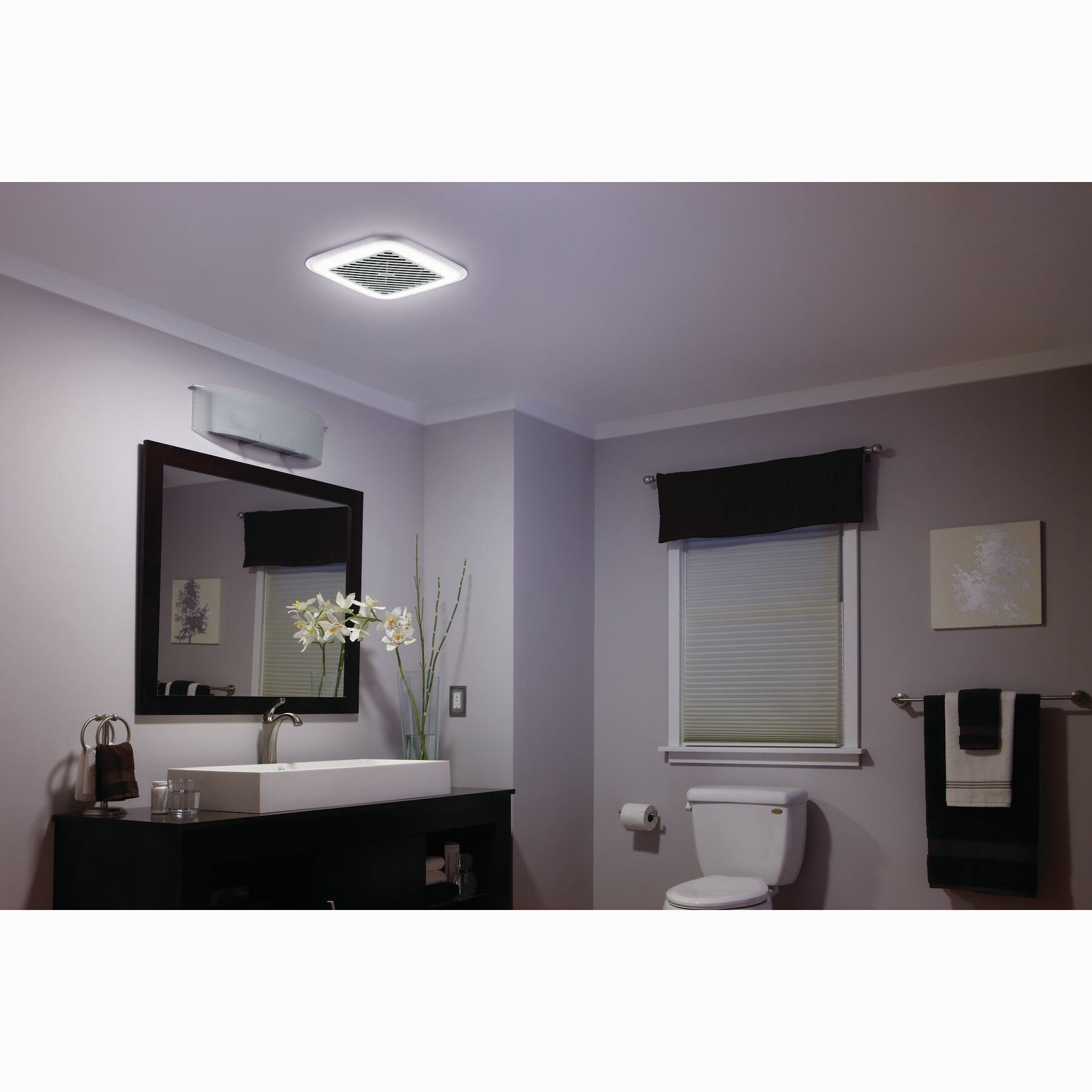 Broan 100 cfm energy star bathroom fan with light for Bathroom exhaust fan with led light