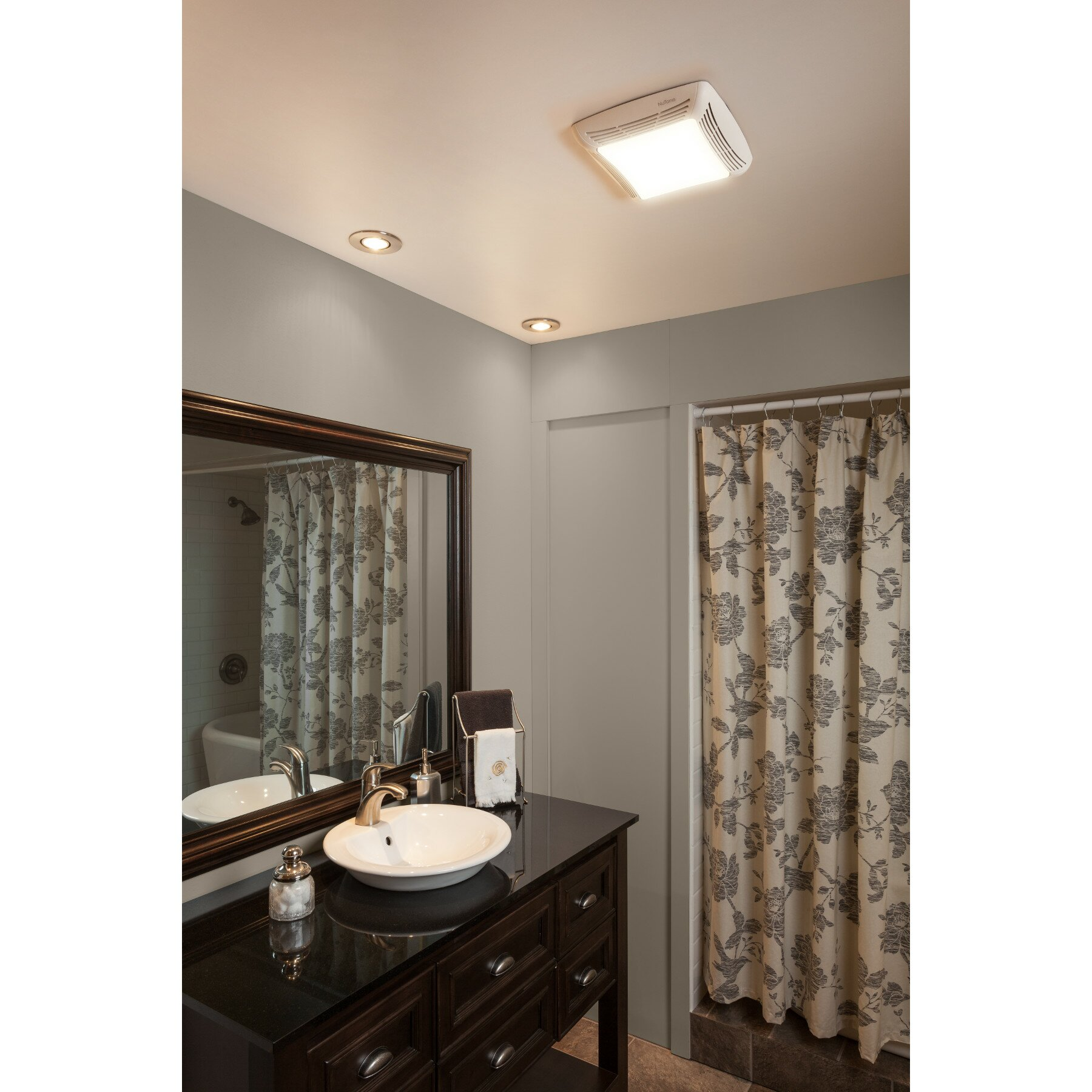 Broan ceiling mount 70 cfm exhaust bathroom fan with light for How many cfm for bathroom fan