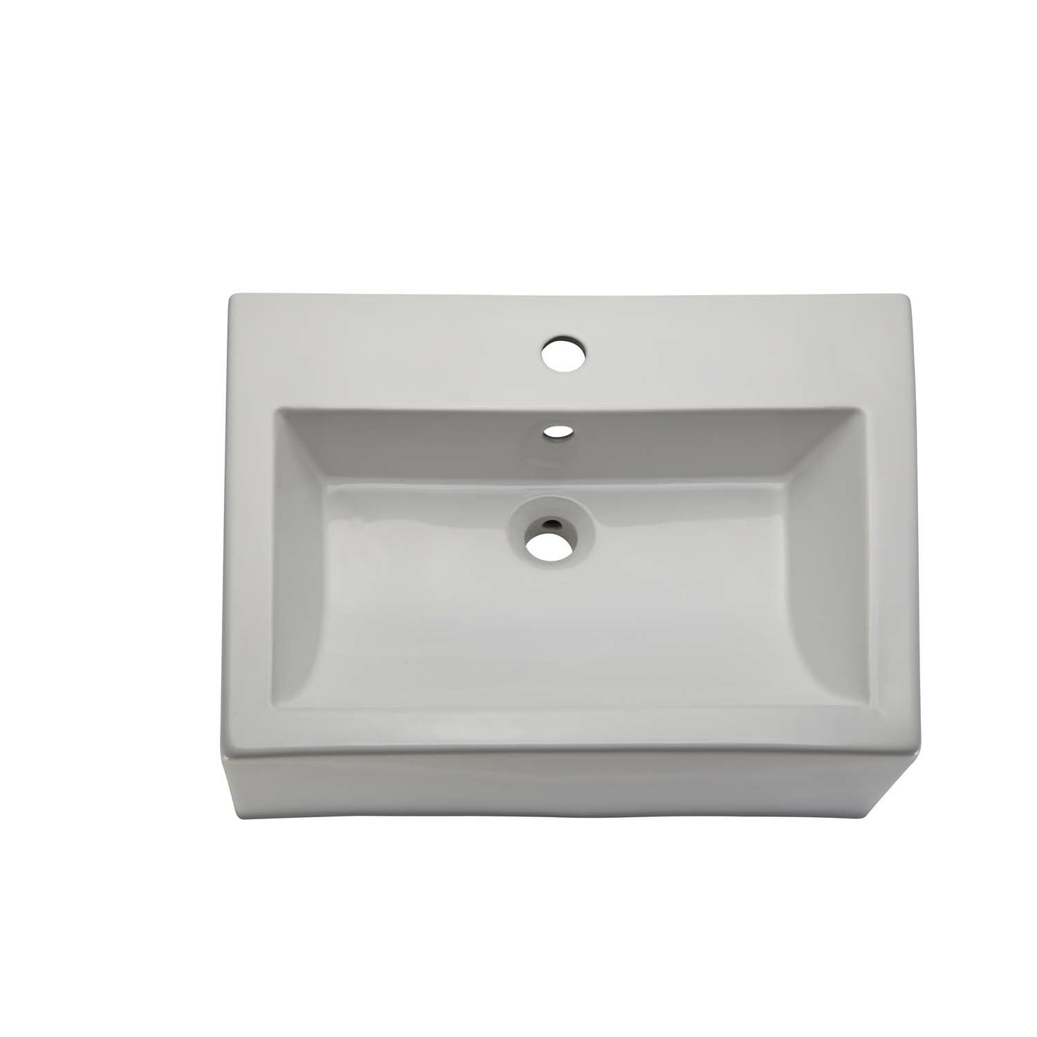 Rectangular Vessel Sink With Overflow : ... Rectangular Ceramic Vessel Bathroom Sink with Overflow by DECOLAV