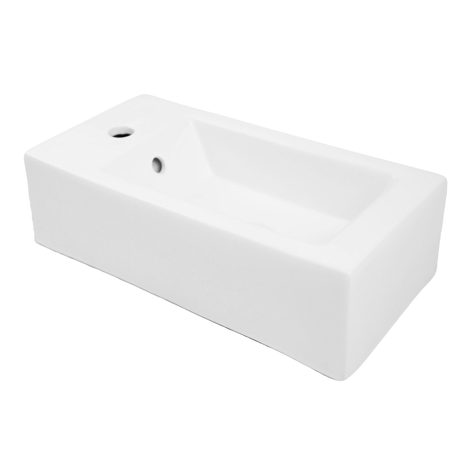 Decolav classically redefined 20 wall mounted or above counter rectangular lavatory sink with for Above counter bathroom sinks glass