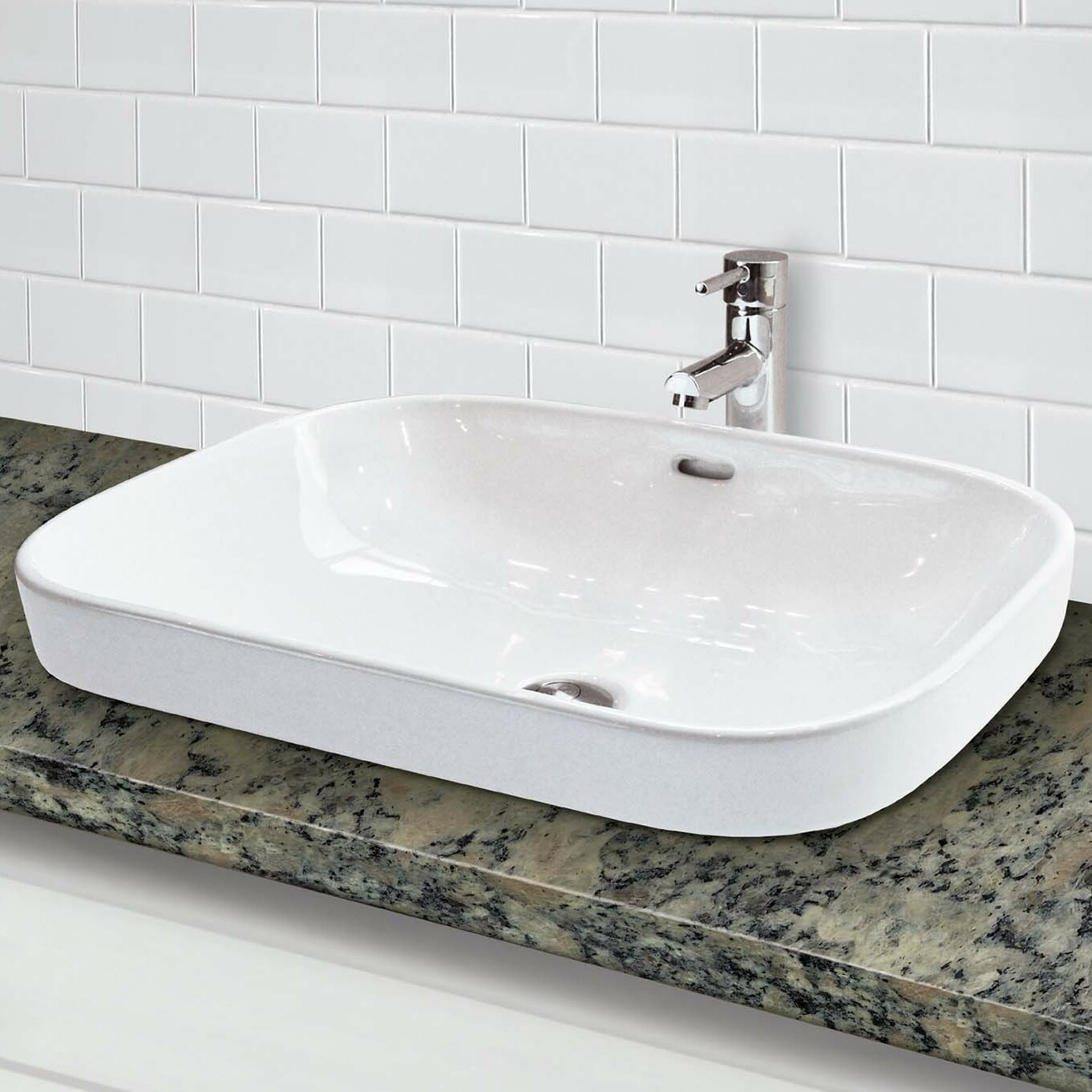 Rectangular Vessel Sink With Overflow : ... Redefined Rectangular Semi Recessed Vessel Lavatory Sink with Overflow