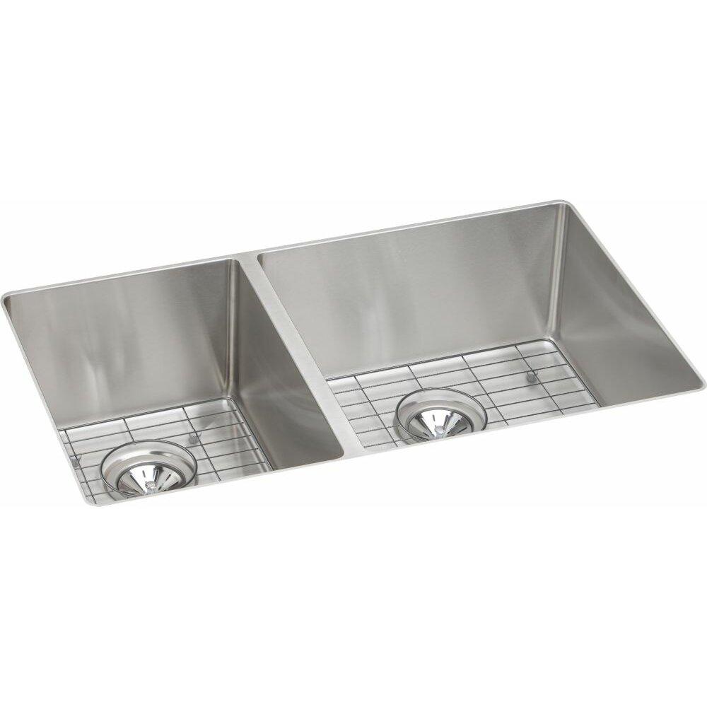 Elkay Crosstown Double Bowl Undermount Kitchen Sink Kit Wayfair