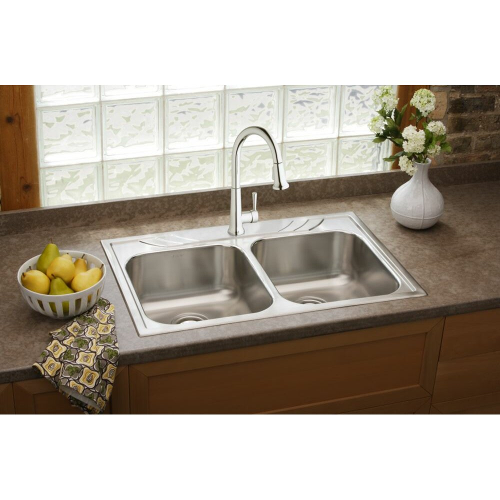 elkay everyday single handle deck mount kitchen faucet shop elkay avado brushed nickel 1 handle pull down kitchen