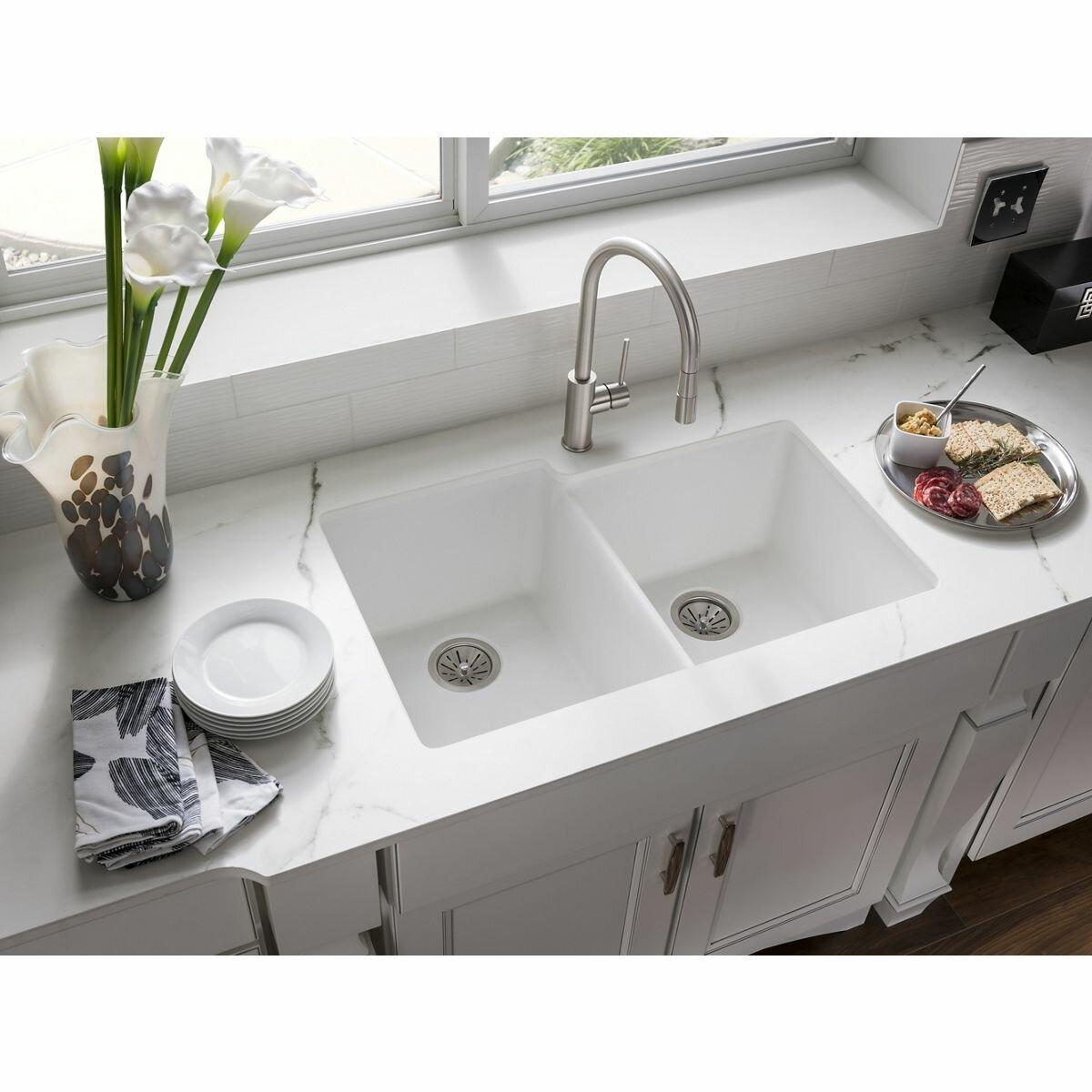 Elkay Quartz Classic 33 X 20 5 Double Bowl Undermount Kitchen Sink Wayfair